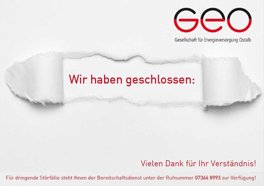 Aktuelles: Kundencenter geschlossen – GEO Energie Ostalb